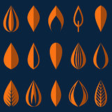 Different origami orange simple leaves isolated