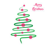 Green christmas tree hand drawn vector