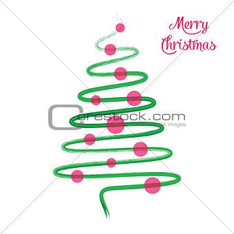 Green christmas tree hand drawn vector