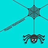 Happy halloween spider web and spider