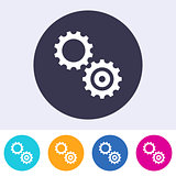 Simple vector gears icon colorful buttons