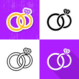 Various wedding rings icons collection