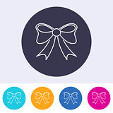 Vector outline bow icon colorful buttons