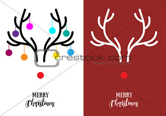 Christmas cards with antlers, vector