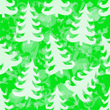 Green Pattern with Fir Trees