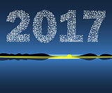 Happy New Year 2017 starburst dawn.