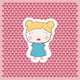 Cute Blonde Cartoon Cry Baby Girl