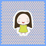 Cute Happy Smiling Cartoon Baby Girl