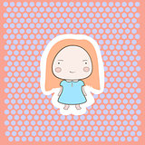Cute Happy Smiling Peach Hair Cartoon Baby Girl