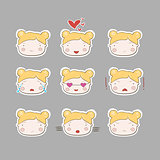 Cute Simple Drawing Blonde Bab Girl Emotions Set