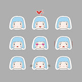 Cute Simple Drawing Blonde Baby Girl Emotions Set