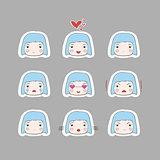 Cute Simple Drawing Blonde Baby Girl Emotions Set