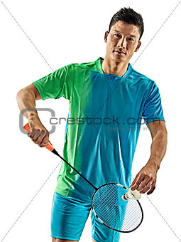 asian badminton player man isolated