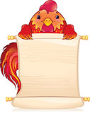Red fire rooster with scroll.