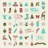 Set of Hand Drawn Artistic Christmas Doodle Icons.