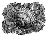 Zentangle stylized seashell line art colored in shades of gray. Hand Drawn aquatic doodle vector illustration. Sketch for tattoo or makhenda. Ocean life