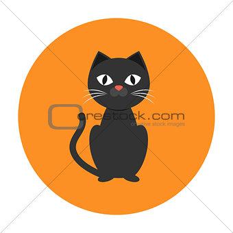Black cat icon flat