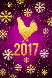 Happy 2017 Chinese New Year card. Vector poster of a golden rooster isolated on violet background. Design template for prints, covers, posters, gift cards.