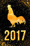Happy 2017 Chinese New Year card. Vector poster of a golden rooster isolated on black background. Design template for prints, covers, posters, gift cards.