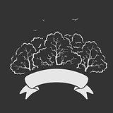 Emblem Trees and Ribbon Vector Illustration