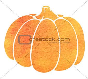 Watercolor silhouette of pumpkin