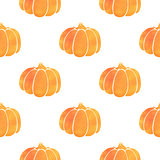 Pattern with orange watercolor pumpkin
