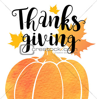 Greeting card for Thanksgiving Da