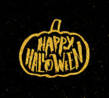 Happy Halloween Party banner with gold typography