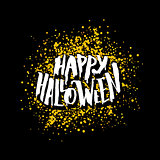 Happy Halloween greeting card with lettering