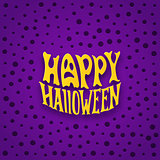 Halloween card with modern lettering style label