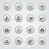 Insurance and Medical Services Icons Set. Button Design