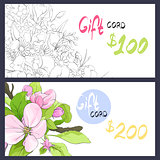 Blooming flowers on gift card
