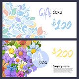 Gift card with elegant patterns and flowers