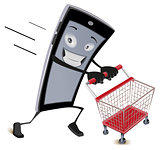 Mobile phone runs with empty shopping cart