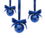 Hunging blue christmas balls isolated