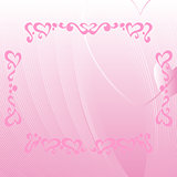 Romantic pink background with ornate elements