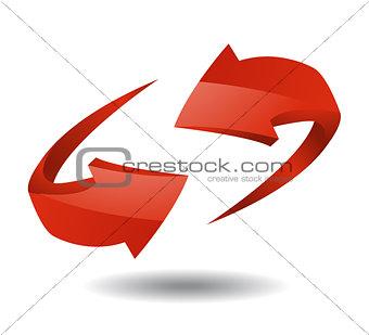 Arrow sign vector illustration on white