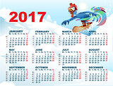 Blue Rooster on snowboard. Calendar with cock symbol 2017