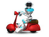 3D Illustration of a Robot on a Motor Scooter
