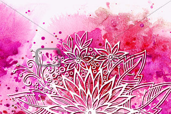 Floral Pattern on Watercolor Painting