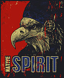 Native American poster, eagle in war bonnet