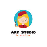 Vector cartoon kids art studio logo