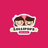Vector cartoon lollipops store logo