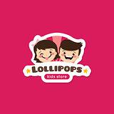 Vector cartoon lollipops store logo