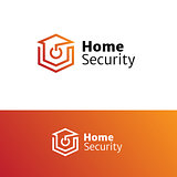 Vector home security service minimalistic logo.