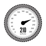 Speedometer vector illustration. Styling by tire tracks.