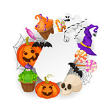 Halloween Gift Tags with autumn tree, bats, candy, spider, pumpkins and ghost on white background. Perfect for holiday greetings