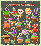 Haloween stickers. Traditional sweets and candies for holiday Halloween. Halloween candies isolated on white background. Retro cartoon style vector illustration.