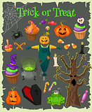 Halloween fashion flat icons isolated on brounbackground. Halloween vector characters. Pumpkin,ghost and witch