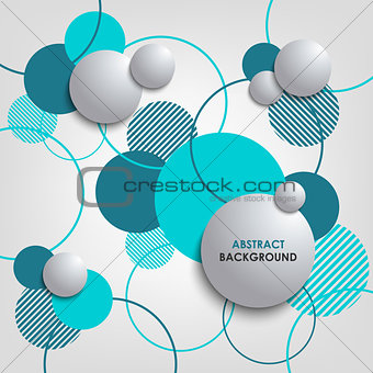 Abstract background with blue circles and bubbles